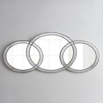 Mirrors - Olympia Mirror I Horchow - interlocking circle mirror, triple ring mirror, round beaded mirror,