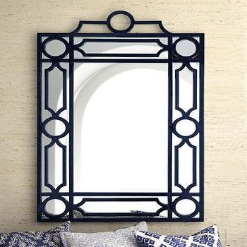 Mirrors - Navy Geometric Mirror I Horchow - navy geometric mirror, navy fretwork mirror, navy latticework mirror,