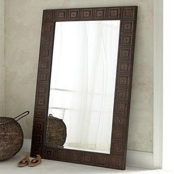 Mirrors - Adel Floor Mirror I Horchow - hammered metal floor mirror, metal floor mirror, hand hammered metal floor mirror,