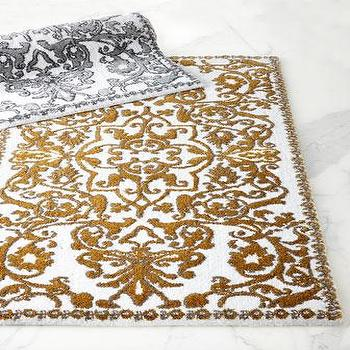 Bath - Abyss & Habidecor Perse Bath Rug  I Horchow - gold scrollwork bath rug, gold and white bath rug, gray scrollwork bath rug, gray and white scroll bath rug,