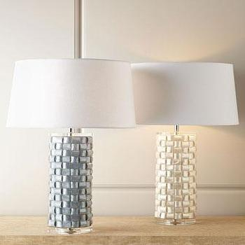 Lighting - Basketweave Capiz Shell Lamp I Horchow - basketweave gray lamp, basketweave capiz shell lamp, gray capiz lamp, textured capiz shell lamp,