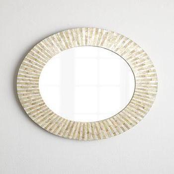 Mirrors - Hillary Mirror I Horchow - round capiz mirror, round capiz shell mirror, capiz shell framed mirror, capiz shell mirror,