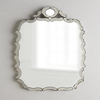 Mirrors - Antiqued Nicole Mirror I Horchow - antiqued mirror framed mirror, scalloped mirror, ruffled framed mirror, ruffled mirror,