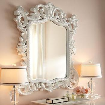 Mirrors - Madeline Baroque Mirror I Horchow - glossy white mirror, white baroque mirror, white ornate mirror,