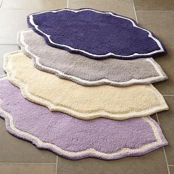 Bath - John Robshaw Bath Rugs I Horchow - purple scalloped bath rug, lavender bath rug, cream scalloped bath rug, cream bath rug, gray scalloped bath rug, gray bath rug, navy scalloped bath rug, navy bath rug,