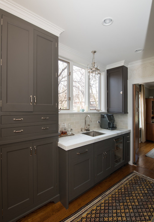 Dark Taupe Cabinets Transitional Kitchen Kitchen Lab