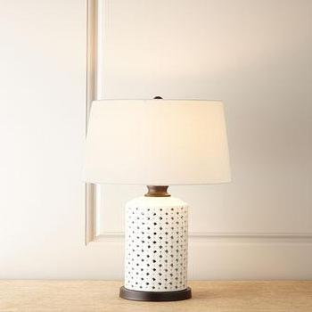 Lighting - Lattice Table Lamp I Horchow - lattice table lamp, white lattice table lamp, white openwork table lamp,
