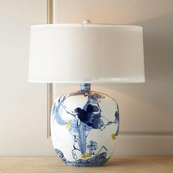 Lighting - John-Richard Collection Floral Chinoiserie Lamp I Horchow - blue chinoiserie lamp, chinoiserie urn lamp, blue white and yellow chinoiserie lamp,