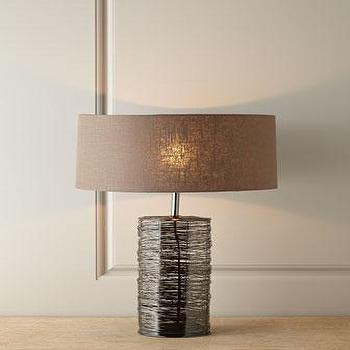 Lighting - Townsend Lamp I Horchow - metal table lamp, black metal table lamp, metal lamp with linen shade,