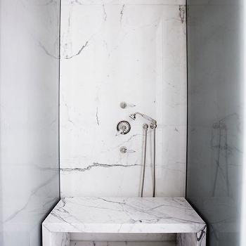 bathrooms - paris apartment, marble shower surround, white marble shower, marble shower bench, waterfall shower bench, marble waterfall shower bench, small shower, marble shower, marble shower ideas,