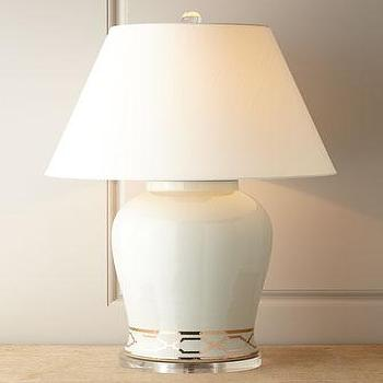 Lighting - Scalamandre Maison by Port 68 Pavillion White Lamp I Horchow - white ginger jar lamp, white and gold ginger jar lamp, gold trellis ginger jar lamp,