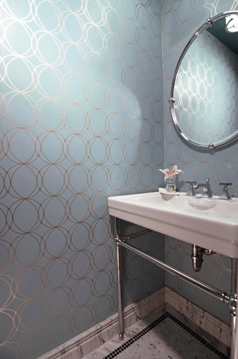Darcy wallpaper contemporary bathroom case design for Blue and silver bathroom decor