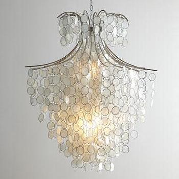 Lighting - Dripping Capiz Chandelier I Horchow - capiz shell chandelier, white capiz shell chandelier, tiered capiz shell chandelier,