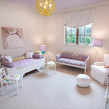 Meredith McBrearty - girl's rooms: purple girls room, purple girls bedroom, purple ceiling, lavender purple ceiling, white moroccan pouf, moroccan pouf, white glider, white slipcovered glider, white kids accent chair, floral kids accent chair, white sleigh daybed, white daybed, kids daybed, purple zebra bedding, purple zebra duvet, zebra print settee, french zebra print settee, purple zebra settee, french settee, white dress art, white dress canvas, girls room art, yellow sphere pendant, yellow sphere chandelier, modern yellow pendant, lavender roman shade, sleigh daybed, white branch floor lamp, branch shaped floor lamp, pale pink walls, painted ceiling, lavender ceiling, sleigh bed, french sleigh bed, kids sleigh bed, sleigh daybed, french sleigh daybed, purple settee, dress painting, faux bois floor lamp, white faux bois floor lamp,