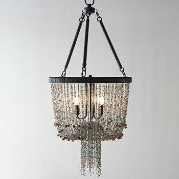 Lighting - Regina-Andrew Design Bohemian Chandelier I Horchow - gray and blue beaded chandelier, stone beaded chandelier, gray and teal beaded chandelier, beaded chandelier,