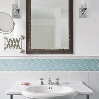Meriwether Inc - bathrooms - sink vanity, half moon sink vanity, demilune sink vanity, turquoise tiles, turquoise diamond tiles, turquoise accent tiles, metal mirror, milk glass sconces, shaving mirror, accordion shaving mirror, white and turquoise bathroom,