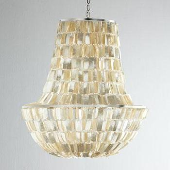 Lighting - Anabelle Pendant Light I Horchow - capiz chandelier, beaded capiz shell chandelier, capiz shell pendant,