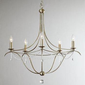 Lighting - Crystorama Simple Elegance Chandelier I Horchow - silver leaf crystal chandelier, silver leafed crystal chandelier, beaded crystal chandelier,