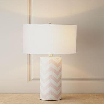 Lighting - Pink Chevron Lamp I Horchow - pink chevron lamp, pink chevron table lamp pink and white chevron lamp,
