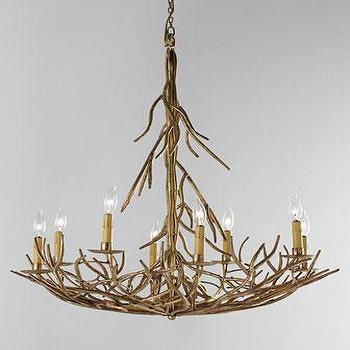 Lighting - Eight-Light Iron-Twig Chandelier I Horchow - gold twig chandelier, gold branch chandelier, antiqued gold twig chandelier,