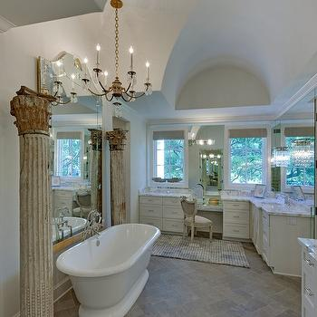 Gray Herringbone Floor, French, bathroom, Houston Culture Map