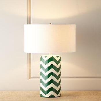 Lighting - Green Chevron Lamp I Horchow - green chevron lamp, chevron table lamp, green and white chevron table lamp,