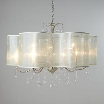 Lighting - John-Richard Collection Quatrefoil Shaded Chandelier I Horchow - quatrefoil shade chandelier, silk shaded chandelier, silver glass beaded chandelier,