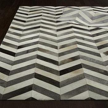 Rugs - Windsor Chevron Hide Rug I Horchow - cowhide rug, chevron cowhide rug, gray and white chevron cowhide rug,