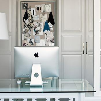 Elizabeth Metcalfe - dens/libraries/offices: chic office, office cabinets, lattice desk, glass top desk, glass topped desk, blue urn lamp, blue table lamp, blue urn table lamp, room divider, quatrefoil room divider, quatrefoil screen,