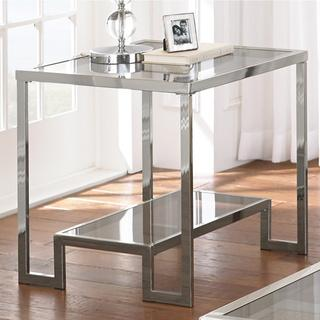 Tables - Cordele Chrome and Glass End Table | Overstock.com - modern chrome end table, chrome and smoked glass end table, chrome end table with glass top,