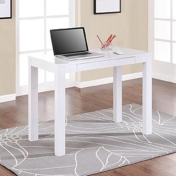Tables - Altra Parsons White Laptop/ Writing Desk | Overstock.com - white parsons desk, parsons writing desk, modern white desk, modern white parsons desk,
