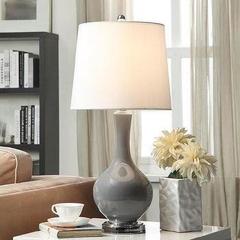 Lighting - Auva Grey Table Lamp | Overstock.com - gray table lamp, gray ceramic lamp, gray lamp with tapered drum shade,