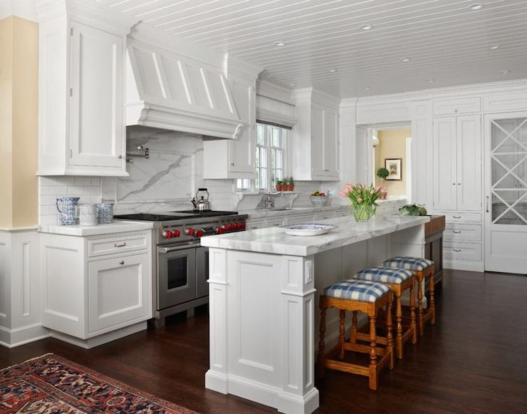 Plaid Barstools Transitional Kitchen Exquisite