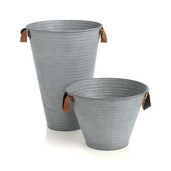 Decor/Accessories - Galvanized Buckets with Leather Handles | Crate and Barrel - galvanized buckets, galvanized steel vase, galvanized steel bucket,