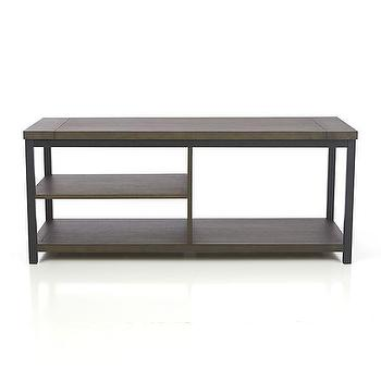 "Storage Furniture - Montage 48"" Media Stand I Crate and Barrel - modern wood and metal media stand, modern media stand, charcoal gray media stand,"