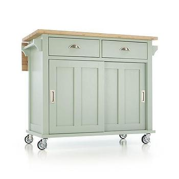 Storage Furniture - Belmont Mint Kitchen Island | Crate and Barrel - mint green kitchen island, kitchen island on castors, butcher block topped kitchen island,