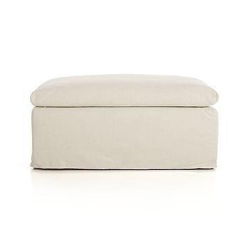 Seating - Serene Slipcovered Ottoman and a Half | Crate and Barrel - slipcovered ottoman, slipcovered cotton ottoman, slipcovered ottoman and a half,