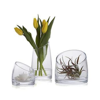 Decor/Accessories - Slant Vessels | Crate and Barrel - slanted glass vase, sloped glass vase, slant glass vase,