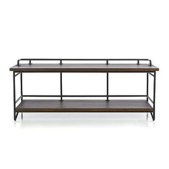 Seating - Andes Bench | Crate and Barrel - industrial bench, metal bench with wooden seat, metal bench with wood seat,