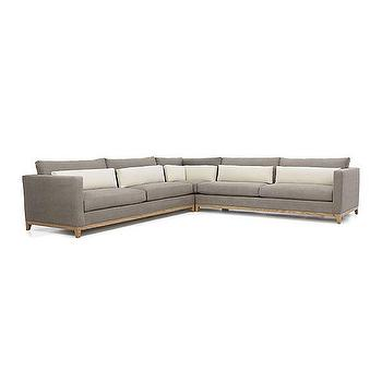 Seating - Taraval 3-Piece Sectional with Oak Base | Crate and Barrel - contemporary gray sectional, gray sectional with oak base, gray sectional with wooden base,