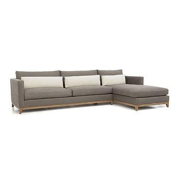Seating - Taraval 2-Piece Sectional with Oak Base | Crate and Barrel - gray sectional with chaise, gray sectional with oak base, gray sectional with track arms,