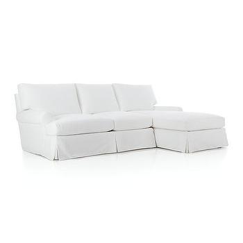 Seating - Ellyson Slipcovered 2-Piece Sectional | Crate and Barrel - white slipcovered sectional, white slipcovered sectional sofa, white roll arm slipcovered sectional,
