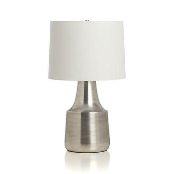 Lighting - Avery Table Lamp | Crate and Barrel - nickel table lamp, modern nickel table lamp, nickel lamp with drum shade,