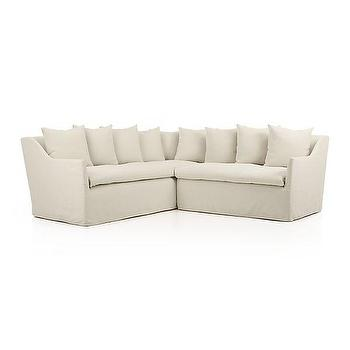 Seating - Serene Slipcovered 2-Piece Sectional I Crate and Barrel - slipcovered sectional, slipcovered shelter sectional, slipcovered loose cushion sectional,