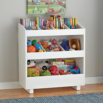 Storage Furniture - General Storage Shelf (White) | The Land of Nod - white kids storage shelf, white kids storage bins, kids storage bins, kids storage cubbies,