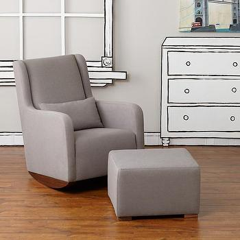 Seating - Marley Rocker & Ottoman (Grey) | The Land of Nod - modern gray rocker, modern gray rocking chair, gray rocking chair with ottoman, modern gray nursery rocker, gray nursery rocking chair,