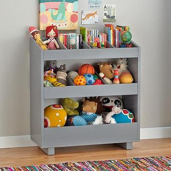 Storage Furniture - General Storage Shelf (Grey) | The Land of Nod - gray storage shelf, gray storage cubbies, gray storage kids storage bins, kids storage bins,