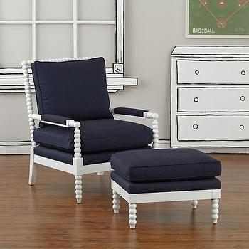 Seating - Jenny Lind Chair & Ottoman (Denali Denim) | The Land of Nod - dark blue spindle chair, navy and white spindle chair, navy and white spindle ottoman, navy jenny lind chair, navy and white jenny lind chair,