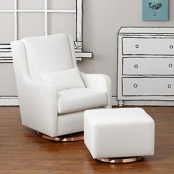 Seating - Milo Glider & Ottoman (White w/ Copper Base) | The Land of Nod - modern white glider, modern white ottoman, white glider with copper base,
