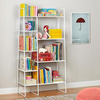 Storage Furniture - High Rise Bookshelf (White) | The Land of Nod - white metal bookcase, modern white metal bookcase, tiered white metal bookcase,